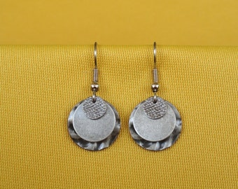 Silver round casual earrings (Style #220)