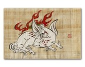 OKAMI Amaterasu Original Painting on handmade natural papyrus scroll
