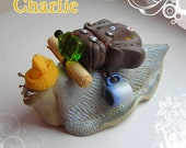 Charlie - OOAK Cute Surreal Lifesize Backpack / Hiker Snail Sculpture FREE SHIPPING