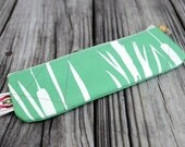 eco friendly handprinted cattails pencil case in green linen