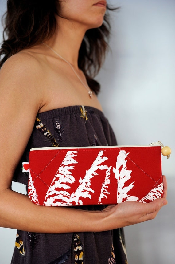recycled handprinted seaoats clutch in red