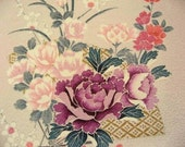 Japanese silk from Kyoto Pale purple floral design 13-1
