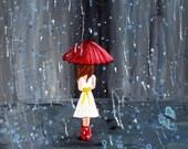 Giclee Print, Rain Girl  - Walk through the Rain