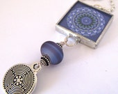 Glass Art Pendant - Purple Mandalas with Labyrinth - Two Sided - Beaded Soldered Glass Pendant Necklace