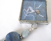 Glass Art Pendant - Blue Cupids - Two Sided Beaded Soldered Glass Pendant Necklace