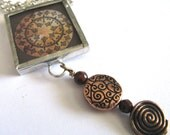 Glass Art Mini Pendant with Beads - Brown Ohm - Two Sided Hand Soldered Glass Charm - classyandsassycharms