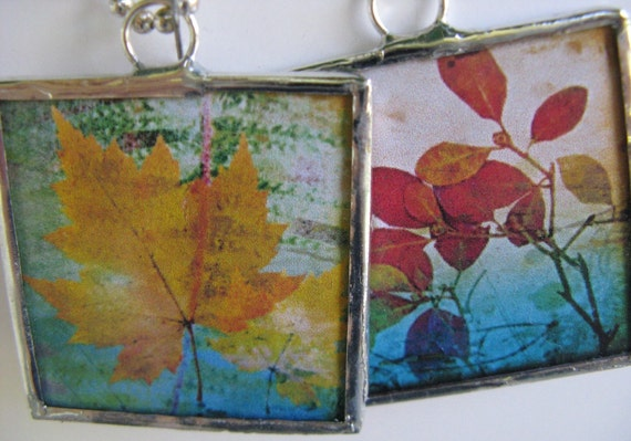 Two Sided Soldered Glass Pendant Autumn Splendor