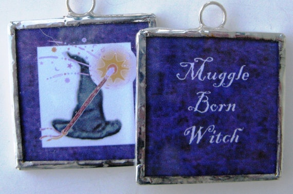 Two Sided Soldered Glass Art Pendant - Muggle Born Witch