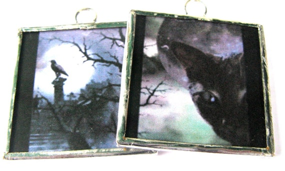 Glass Art Pendant - Halloween Mistresses of the Night - Cat and Raven - Two sided Hand soldered