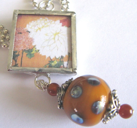 Glass Art Pendant - Asian White Mums on Rust Orange - Beaded Soldered Glass Pendant Necklace