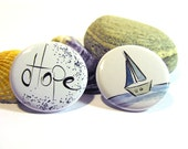 Pinback buttons- For the little Sailor in you  (set of 2), Original Design, OOAK, 1.5 inches -38mm in diameter.
