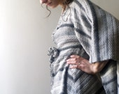 Wool Poncho/Tunic-Wide sleeve Soft Flower Sweater in shades of Gray and Off white by NervousWardrobe on Etsy