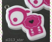 4pcs of Gothic Lamb Lucite Charms, Fuchsia