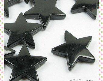 12pcs Acrylic Star Beads, 22mm, Opaque Black