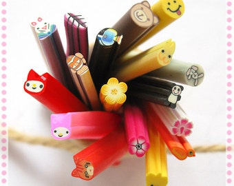 10pcs of Polymer Clay Canes, Mixed B