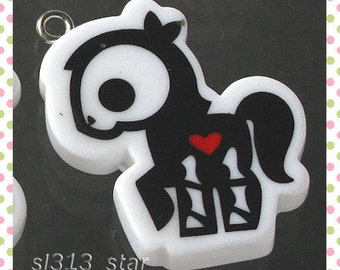 4pcs of Gothic Pony Lucite Charms, Black