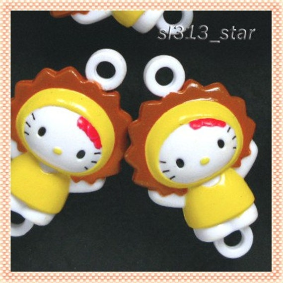 4pcs Cat in Lion Costume Plastic Charms, Style 03