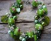 Sweet Rambling Rose - Very Feminine And Romantic Bracelet with Handcrafted Lampwork Beads, Shell Beads, Czech Glass Leaves and Glass Pearls