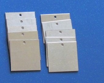 1x1- Aluminum Squares -  24 gauge -  hand stamping blanks - holes punched -metal blanks