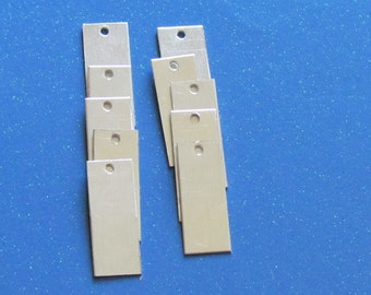 3/8 x 1 1/4  Aluminum rectangles - 22 gauge -  hand stamping blanks with holes punched