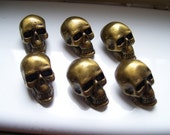 SKULL PEWTER BUTTONS - lot of 6 - Antiqued brass