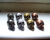 SKULL PEWTER BUTTONS - lot of 12 - Choose into 4 colors: brass, silver, copper, black