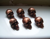 SKULL PEWTER BUTTONS - lot of 6 - Copper