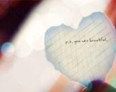 You are Beautiful - 4x6 Metallic Paper Matboard Print
