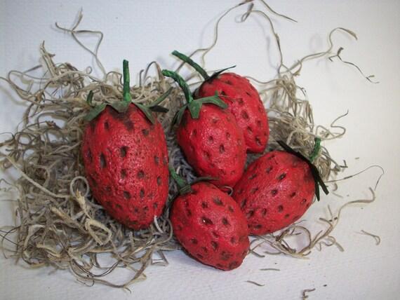 Five Paper Mache Folk Art Strawberries
