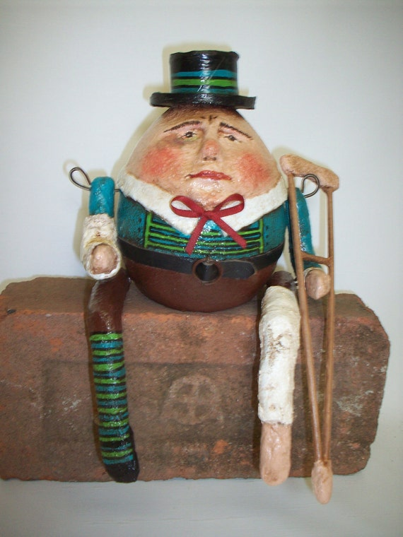 Primitive- Papier Mache-Folk Art - Humpty Dumpty w/ Crutch and Casts