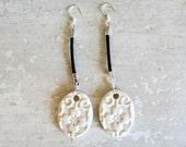 Ceramic Leather Earrings - Buff White Floral Imprint Long Dangles