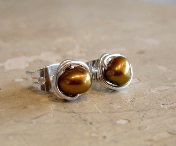 Little Brown Stud Earrings - Bronze Freshwater Pearls - Sterling Wire Wrapped Posts