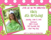 Polka Dot Birthday Invitation Green and Pink 1st Birthday Polka Dot Birthday Party Invitation Printable