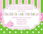 1st Birthday invitation Whale Birthday Party Invitation Printable Girls or Boys