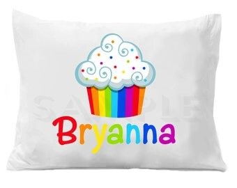 Cupcake Personalized Pillow Case Rainbow Cupcake Personalized Pillowcase