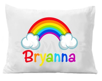 Rainbow Pillow Case , Kids Personalized Pillowcase, Rainbow Bedding, Personalized Gift, Colorful Pillow Case, Colorful Bedding