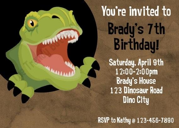 dinosaur t rex birthday invitation t rex by thetrendybutterfly