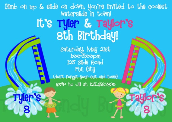 Send Invoice Ebay Twins Siblings Waterslide Birthday Party Invitation Waterslide Carpet Cleaning Invoice Template Pdf with Seamless Receipts Pdf Twins Siblings Waterslide Birthday Party Invitation Waterslide Birthday  Party Invitation Printable Apcoa Vat Receipts Pdf