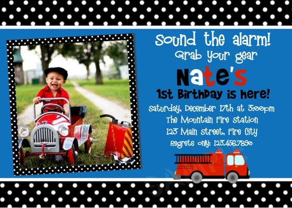 Fire Truck Birthday Invitation Firetruck Birthday Party Invitations Printable