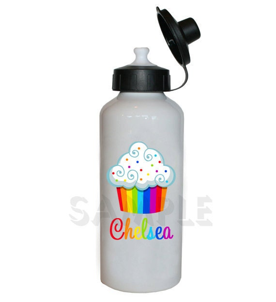 Rainbow Cupcake Water Bottle Cupcake Personalized Water Bottle