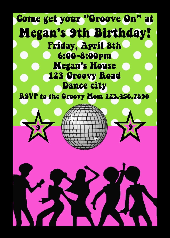 disco ball invitation disco dance party birthday invitation