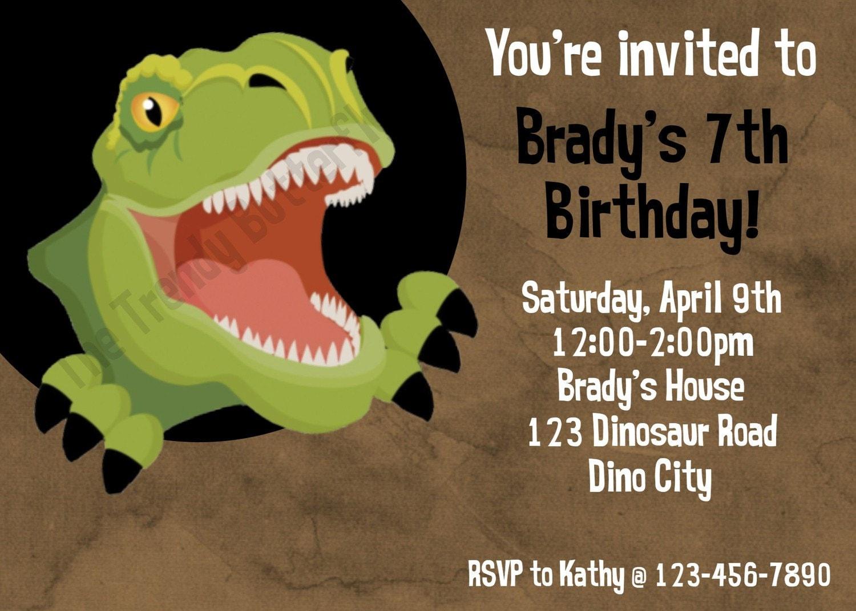 Dinosaur T Rex Birthday Invitation T Rex Birthday Party
