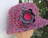 Hat cotton plaited washable packable plum raspberry slate cotton