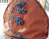 Tea cosy appliqued nutmeg and blue crepe myrtle fabric origami