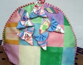 Tea cosy pretty pastels checks and fabric origami flowers