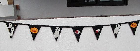 Spooky Halloween bunting, hand appliqued ghosts and spooks.
