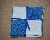 Blue print and white print cotton fabric coasters
