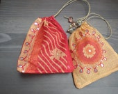 Sari- Pouches-Sandalwood and Red-Set of two