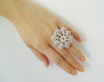 Crochet Lace Jewelry (Grace) Statement Ring, Fiber Jewelry, Crochet Ring