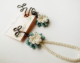 Crochet Lace Jewelry (Chic I) Earring & Ear Cuff Set, Clip Earrings